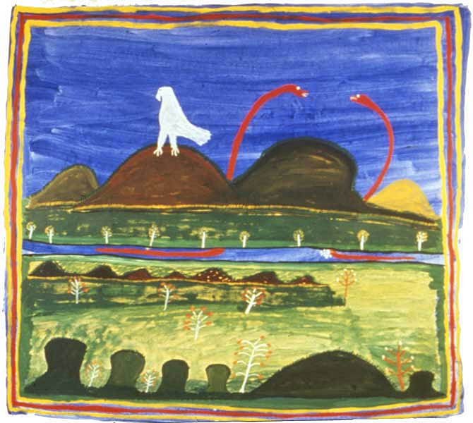 Ginger Riley Munduwalawala, This is my country – This is my story, 1992, acylic on canvas, 144 x 150 cm, winner of the Alice Springs Art Foundation, 1992